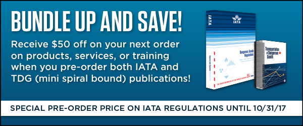 Earn a $50 off coupon for your next order when you pre-order the 2018 IATA DGR and buy the TDG MINI.